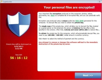 CryptoLocker Ransom Message